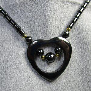 Vintage 1980's Hematite Open Heart Necklace